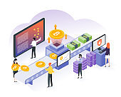 Cryptocurrency exchange. Bitcoin, cryptocurrency and blockchain technology in flat isometric with analyst, people and statistics illustration