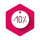 White Ten discount percent tag icon isolated with long shadow. Shopping tag sign. Special offer sign. Discount coupons symbol. Pink hexagon button. Vector Illustration