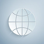 Paper cut Worldwide icon isolated on grey background. Pin on globe. Paper art style. Vector Illustration