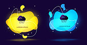 Black Cloud with rain icon isolated on black background. Rain cloud precipitation with rain drops. Abstract banner with liquid shapes. Vector Illustration