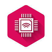 White Computer processor with microcircuits CPU icon isolated with long shadow. Chip or cpu with circuit board. Micro processor. Pink hexagon button. Vector