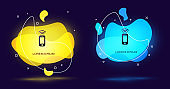 Black Wireless smartphone icon isolated on black background. Abstract banner with liquid shapes. Vector