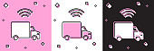 Set Smart delivery cargo truck vehicle with wireless connection icon isolated on pink and white, black background. Vector