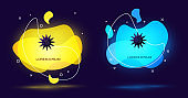 Black Sea urchin icon isolated on black background. Abstract banner with liquid shapes. Vector