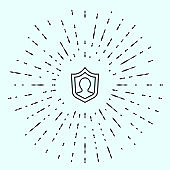 Black line Life insurance with shield icon isolated on grey background. Security, safety, protection, protect concept. Abstract circle random dots. Vector