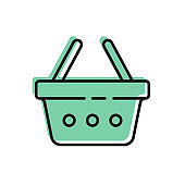 Black line Shopping basket icon isolated on white background. Online buying concept. Delivery service sign. Shopping cart symbol. Vector Illustration