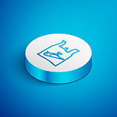 Isometric line Dead bird, plastic icon isolated on blue background. Element of pollution problems sign. White circle button. Vector Illustration