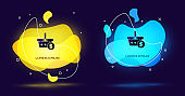 Black Shopping basket and dollar symbol icon isolated on black background. Online buying concept. Delivery service. Shopping cart. Abstract banner with liquid shapes. Vector Illustration