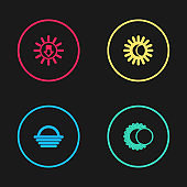 Set line Sunset, Eclipse of the sun, and icon. Vector