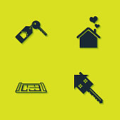 Set House with key, , plan and heart shape icon. Vector
