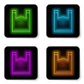 Glowing neon line Plastic bag icon isolated on white background. Disposable cellophane and polythene package prohibition sign. Black square button. Vector Illustration