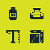 Set Printer ink bottle, Paper size, Text and Ink icon. Vector