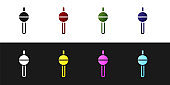 Set Fishing float icon isolated on black and white background. Fishing tackle. Vector