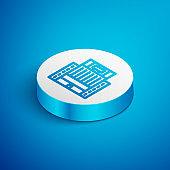 Isometric line Hotel Ukraina building icon isolated on blue background. White circle button. Vector
