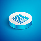 Isometric line Salvador Dali museum in Figueres, Spain icon isolated on blue background. White circle button. Vector