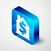 Isometric House with dollar symbol icon isolated on grey background. Home and money. Real estate concept. Blue square button. Vector