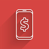 White line Smartphone with dollar symbol icon isolated with long shadow. Online shopping concept. Financial mobile phone. Online payment. Vector Illustration