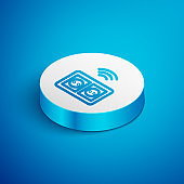 Isometric line Smart electrical outlet system icon isolated on blue background. Power socket. Internet of things concept with wireless connection. White circle button. Vector