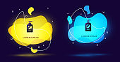 Black Bottle of shampoo icon isolated on black background. Abstract banner with liquid shapes. Vector Illustration