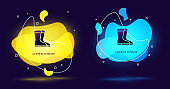 Black Fishing boots icon isolated on black background. Waterproof rubber boot. Gumboots for rainy weather, fishing, hunter, gardening. Abstract banner with liquid shapes. Vector