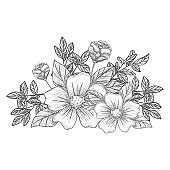 Decorative branches and bouquets. Floral arrangement of flowers and leaves.  Black engraving, graphics, line art. Vintage.