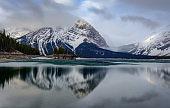 Reflection of Canadian Mountain in Upper Kananaskis Lake, Alberta Canada.