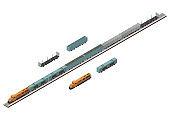 Vector Isometric of train tracks and cargo train.