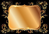 Golden shiny glowing ornate frame isolated over black
