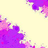 Purple watercolor paint splashes frame