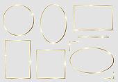 Golden shiny glowing frames set isolated