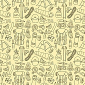 Hiking or backpacking seamless pattern
