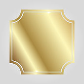 Golden shiny glowing vintage frame isolated