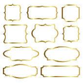 Golden shiny glowing vintage frames set isolated