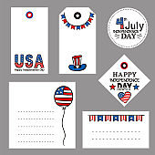 Set of tags for USA Independence Day