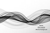 Gray horizontal smooth lines of a wave on an abstract background. Vector design