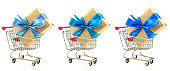 Set of gifts with blue ribbon, bow in the shopping carts