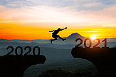 """Man jump silhouette between year 2020 and 2021 new year concept.""""n"""
