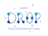 Drop font. Vector alphabet
