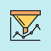 Conversion rate. Digital marketing concept illustration, flat design linear style banner.