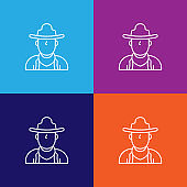 cowboy western men outline icon. Elements of independence day illustration icon