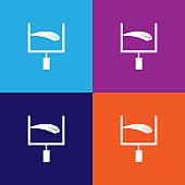 ball at goal color icons. Element of popular american football color icons. Signs, symbols collection icons for websites, web design,
