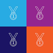 first place medal icon. Element of racing for mobile concept and web apps icon. Thin line icon for website design and development, app development. Premium icon on colored background