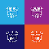 route 66 road sign traffic outline icon. Elements of independence day illustration icon