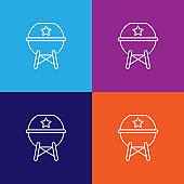 bbq grill outline icon. Elements of independence day illustration icon