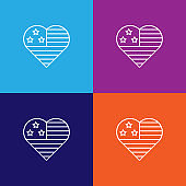 usa flag heart outline icon. Elements of independence day illustration icon