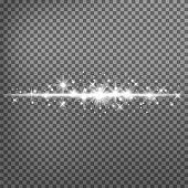 glowing light explodes on a transparent background. Sparkling magical dust particles. Bright Star.