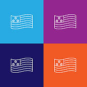 usa flag outline icon. Elements of independence day illustration icon