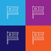flag usa outline icon. Elements of independence day illustration icon