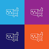 usa flag map outline icon. Elements of independence day illustration icon
