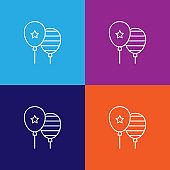 balloons celebration outline icon. Elements of independence day illustration icon